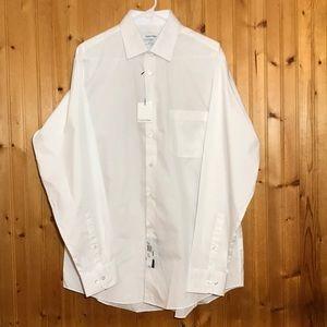 NWT Calvin Klein Men's White Button Up Dress Shirt
